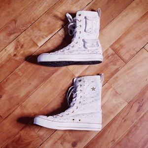 Rare Converse High Top White Gold Diamond Shoes